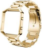 Metalen armband voor Fitbit Blaze met behuizing - Goudkleurig