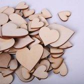 Aa commerce Houten Hartjes Set - 100 Stuks - Houten Hobby Hart / Harten Decoratie Pakket