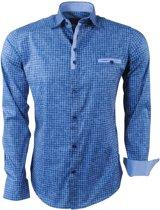 Ferlucci - Heren Overhemd - Geblokt - Milano - Stretch - Navy