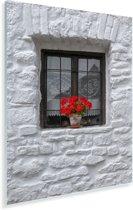 Vensterbank met geraniums Plexiglas 30x40 cm - klein - Foto print op Glas (Plexiglas wanddecoratie)