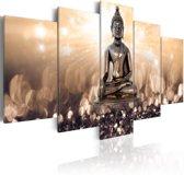 Schilderij - Inspiratie door overpeinzing , Boeddha,  Zilver/beige, 2 Maten, 5luik