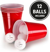 Red Cups, Beer Pong, 100 Stuk, met 12 ballen, Extra sterk, USA Original