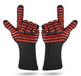 QY Hittebestendige BBQ & Oven Handschoen - Anti Slip - Dubbel Gevoerd - Vaatwasserbestendig - tot 500 °C - Extra Lang Voor Armbescherming - 2 handschoenen - rood