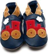 Inch Blue babyslofjes toot train navy red tan maat S (10,5 cm)