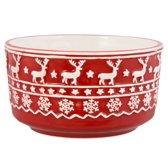 Clayre & Eef Kerstkom 0.4L - wit/ rood