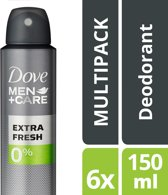 Dove Men + Care Clean Fresh 0% Deodorant - 6 x 150 ml - Voordeelverpakking