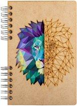 Houten notitieboek - A5 – Gelinieerd – Leeuw