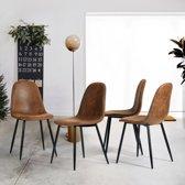 Eetkamerstoelen set van 4 | Van Hout en Kunstleer | Moderne Design | Bruin met Zwart