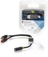 Stereo audio adapter cable 2x RCA male - 3.5 mm female 0.20 m grey