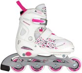 Nijdam Junior Inlineskates Junior Verstelbaar - Semi-Softboot - Wit/Fuchsia/Paars - 34-37