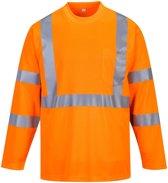 Hogezichtbaarheids T-shirt met lange mouwen en reflectie strepen Oranje Maat XL