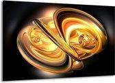 Canvas schilderij Abstract   Goud, Geel, Zwart   140x90cm 1Luik