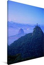 Het Christus de Verlosser beeld in Rio Canvas 120x180 cm - Foto print op Canvas schilderij (Wanddecoratie woonkamer / slaapkamer) XXL / Groot formaat!