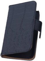 Wicked Narwal | Croco bookstyle / book case/ wallet case voor Alcatel One Touch M'pop OT-5020 Zwart
