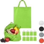 relaxdays boodschappentas - 10 stuks - stoffen tas - effen gekleurd - opvouwbaar - 50 x 40 groen