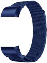 Metalen armband voor Fitbit Charge 2 magneet slot - Kleur - Blauw, Maat - L (Large)