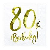 Servetten 80th birthday wit (20 stuks)