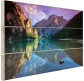 Meer tussen de bergen Hout 120x80 cm - Foto print op Hout (Wanddecoratie)