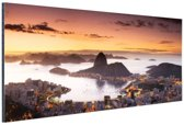 Zonsondergang Rio de Janeiro Aluminium 60x40 cm - Foto print op Aluminium (metaal wanddecoratie)