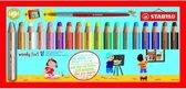 STABILO Woody 3 in 1 Kleurpotloden - 18 Stuks + puntenslijper & penseel.