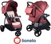 Makkelijk opvouwbare Lionelo Liv kinderwagen met luifel en veel accessoires rood