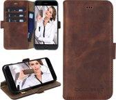 Echt Leer cover - iPhone 6S hoesje - Lederen Book Case Bruin - WalletCase (Antic Brown)