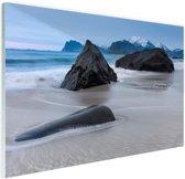 Zandstrand Glas 180x120 cm - Foto print op Glas (Plexiglas wanddecoratie) XXL / Groot formaat! / Zee en Strand