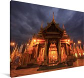 Wolken boven de Schwedagonpagode in Myanmar Canvas 60x40 cm - Foto print op Canvas schilderij (Wanddecoratie woonkamer / slaapkamer)