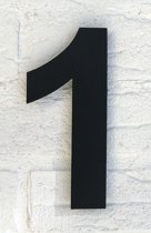 Huisnummer 1 Zwart RVS / Huisnummer Groot 15 cm Arial RVS vlak / Hoogte 15 cm.