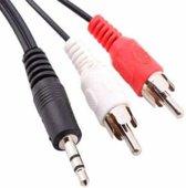 Normale kwaliteit Jack 3,5 mm stereo naar RCA mannelijke audiokabel, lengte: 1,5 m