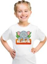 Slurfie de olifant t-shirt wit voor kinderen - unisex - olifanten shirt L (146-152)