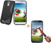 Comutter Silicone hoesje Samsung Galaxy S4 zwart met tempered glas screenprotector