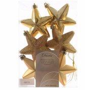 Kerstboom decoratie sterren goud 6 stuks 7 cm