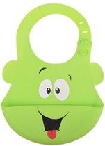Siliconen slabbetje - baby slabber - Groene smile  -handige slabber - waterdichte baby slabbetjes - zachte slabber met opvangbakje - Unisex slabbers
