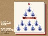 Set van 10 luxe kerstkaarten