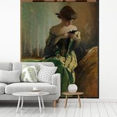 Fotobehang vinyl - Study in Black and Green - Schilderij van John White Alexander breedte 200 cm x hoogte 250 cm - Foto print op behang (in 7 formaten beschikbaar)