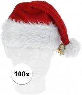 100x Luxe pluche kerstmutsen met bel