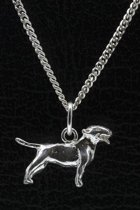Zilveren Bull terrier ketting hanger - klein