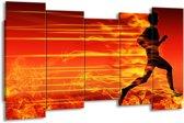 Canvas schilderij Vuur | Zwart, Oranje, Geel | 150x80cm 5Luik