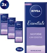 NIVEA Essentials Sensitive Nachtcrème - 3 x 50 ml