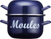 KitchenCraft | World of Flavours - Mosselpan - 2.5 Liter - Emaille - Blauw