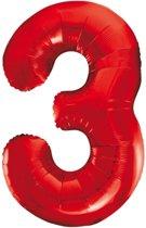 Cijfer 3 Rood Helium 86 cm