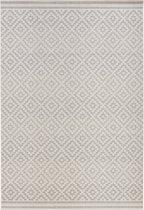 Binnen & buiten vloerkleed ruiten Raute - grijs/crème 160x230 cm