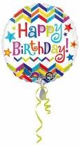 Helium Ballon Happy Birthday Sterren 43cm leeg