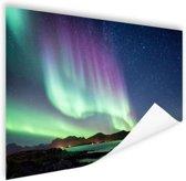 Noorderlicht in Noorse natuur Poster 60x40 cm - Foto print op Poster (wanddecoratie woonkamer / slaapkamer)