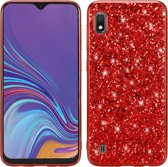 Let op type!! Glittery poeder schokbestendig TPU Case voor Galaxy A10 (rood)