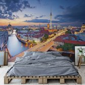 Fotobehang Berlin City Skyline At Night Fernsehturm | VEXXL - 312cm x 219cm | 130gr/m2 Vlies