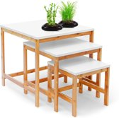 relaxdays 3x tafel bamboe hout - Houten bijzettafel set - 3 hoogtes - Wit tafelblad.