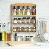Ophangbaar kruidenrek voor 15 kruidenpotjes - Keukenrek / specerijen rek van bamboe hout - 3 laags keukenorganizer - Decopatent®