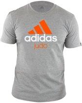 adidas Community T-Shirt Grijs/Oranje Judo Maat S